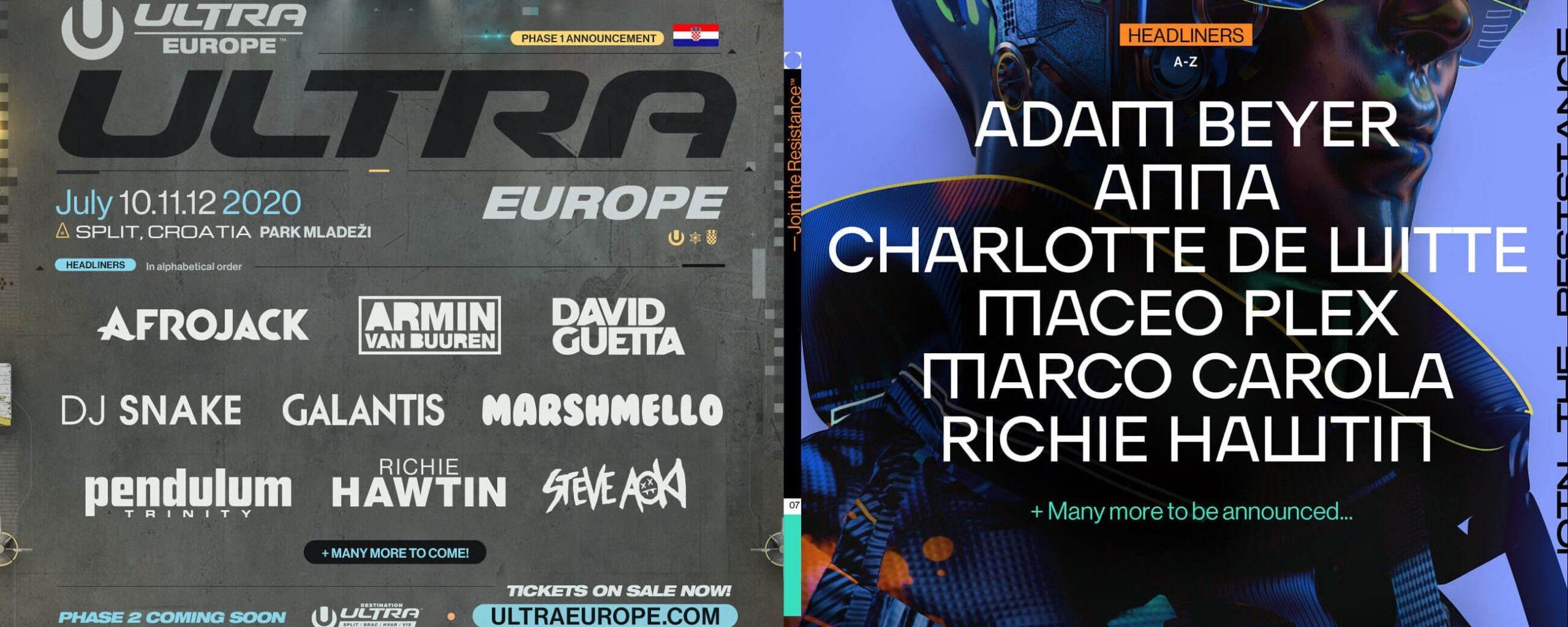 Ultra Europe 2020 lineup